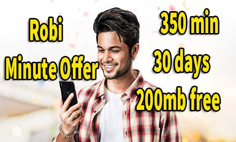 Robi 350 min 194 taka robi 200mb free internet -Robi minute offer 2019
