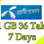 Gp 1 Gp offer 36 Taka 7 days: Grameenphone internet packages
