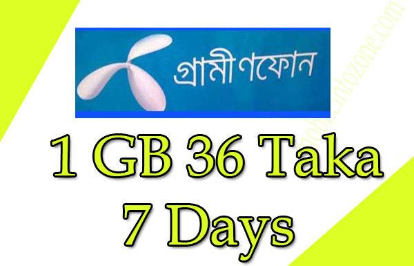 Gp 1 Gp offer 36 Taka 7 days: Grameenphone internet packages