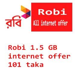 Robi 1.5 Gb 101 taka offer
