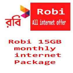 Robi 15GB monthly internet Package